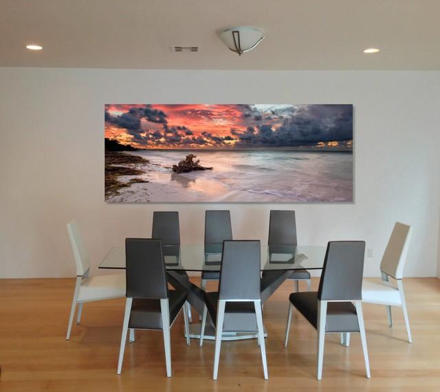 Metal print wall mural high gloss finish asian living room