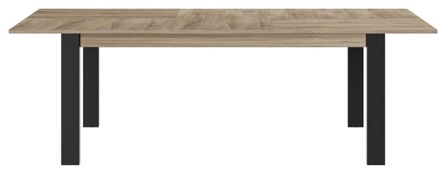 Clay Rectangular Extendable Dining Table, Light Oak