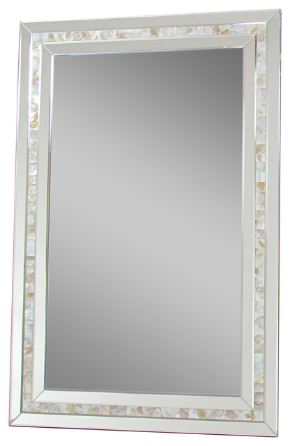 Mother Of Pearl Framed Mirror Contemporary Wall Mirrors By