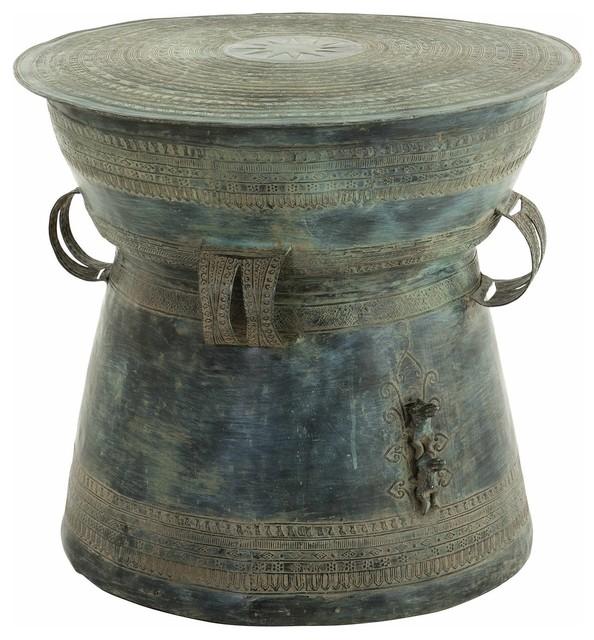 Eichholtz Drum Thai Antique Green Side Table