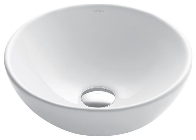 Elavo Ceramic Round Vessel White Sink