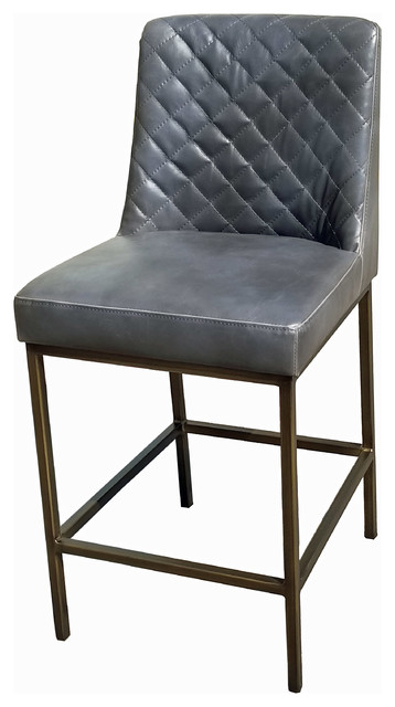 Remarkable Leather Counter Stool With Bronze Steel Frame Gray Cjindustries Chair Design For Home Cjindustriesco