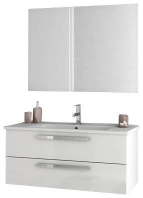 38 Glossy White Bathroom Vanity Set.