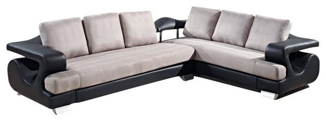 U7208 Black Bonded Leather Amp Grey Microfiber Fabric