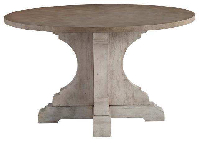 52 Round Table.Dakota Grey 52 Round Pedestable Table