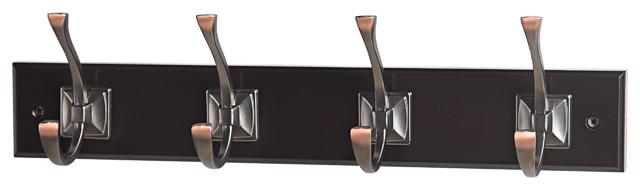 "17-5/7"" Orb Square Base Scroll 4 Hooks On Espresso Hook Rail."