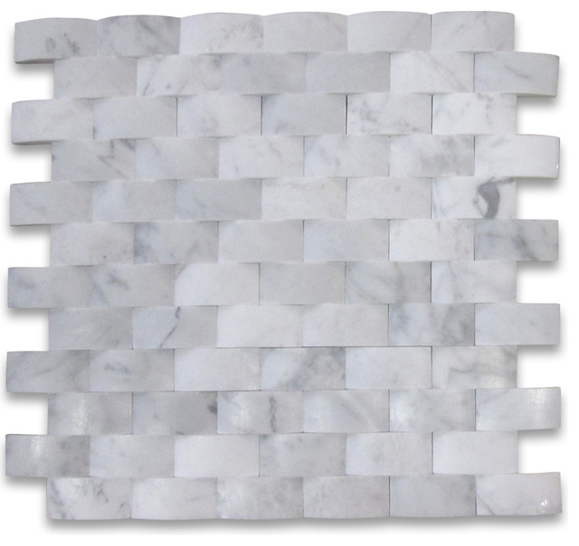 12x12 Carrara White 3d Cambered Brick Arched Mosaic Honed Chip