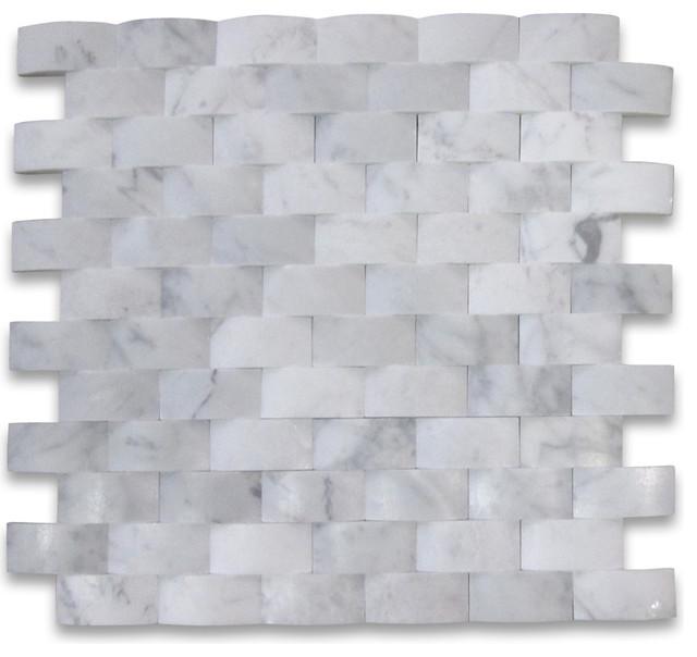 12 X12 Carrara White Cambered Brick Arched Mosaic Honed Chip