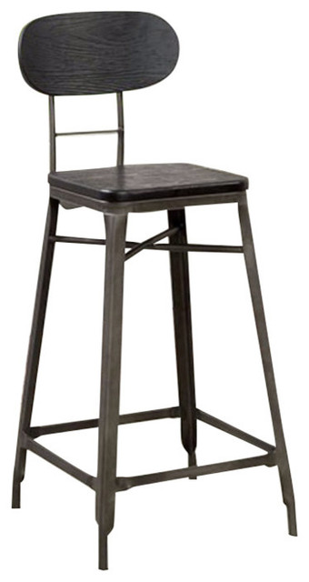 Odalys Industrial 24 Bar Chair Black Gray Set Of 2 Industrial