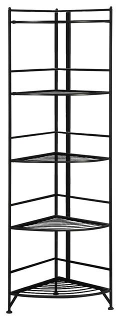 Five Tier Folding Metal Corner Shelf