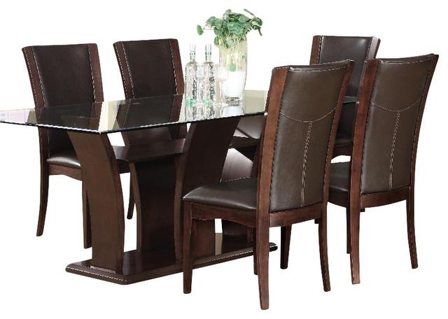 Homelegance Daisy Rectangular Glass Top Dining Table, Espresso
