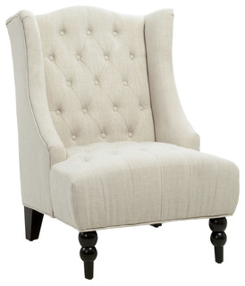 Gdf Studio Clarice Tall Wingback Tufted Fabric Accent