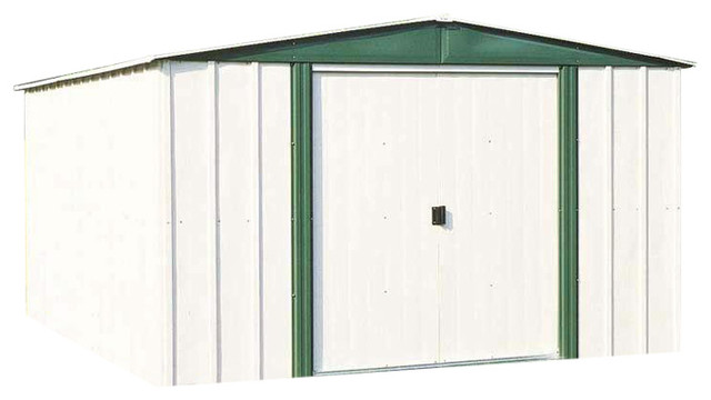 Outdoor 6&x27;x8&x27; Steel Storage Shed With Sliding Doors, White Eggshell, Green.