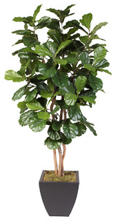 thea artificial fiddle leaf tree in metal pot - contemporary
