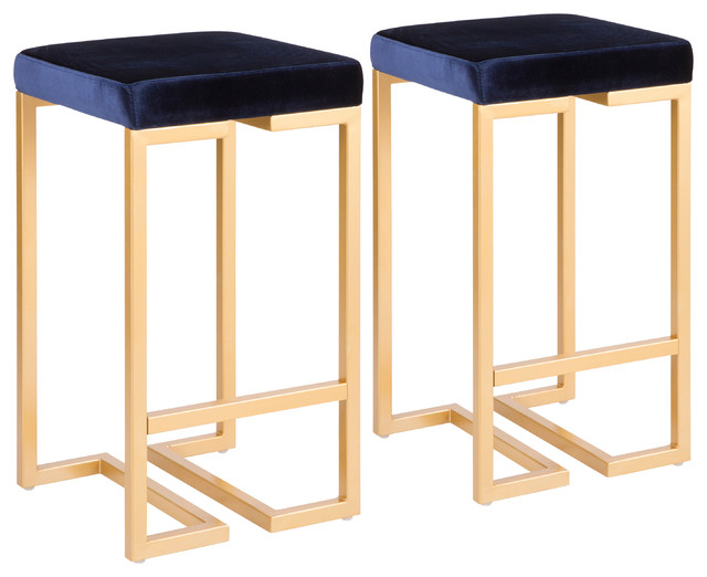Astounding Lumisource Midas 26 Counter Stool Gold With Blue Velvet Set Of 2 Evergreenethics Interior Chair Design Evergreenethicsorg