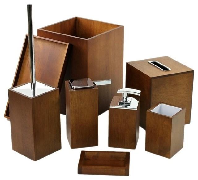 Contemporary Bathroom Accessories Sets wooden 8-piece brown bathroom accessory set - contemporary