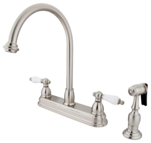 Kingston Brass KB375.PLBS Restoration Centerset Kitchen Faucet with Porcelain L