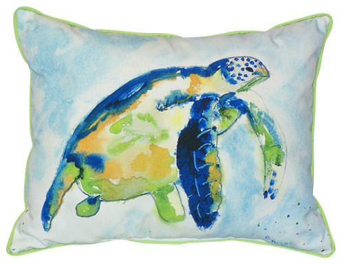 Betsy Drake Blue Sea Turtle Pillow- Indoor/Outdoor - Beach Style ...