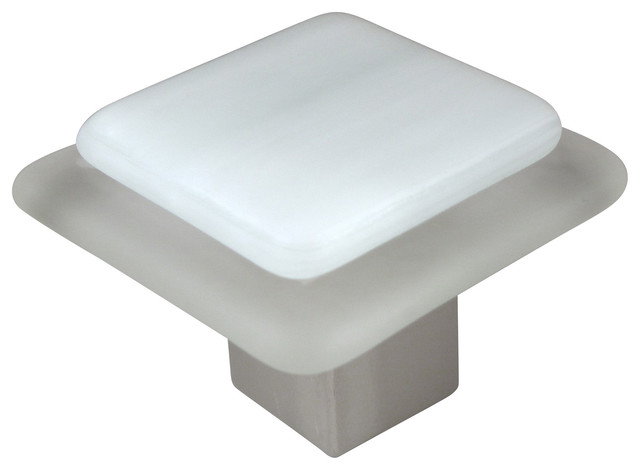 Frost On Ice Square Cabinet Knob, White, Large Square