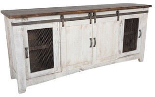 Rustic White Wash 79 Quot Tv Stand Farmhouse Entertainment