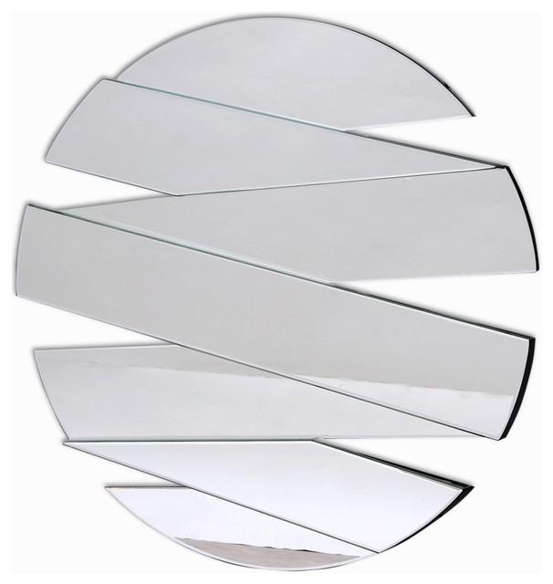 "Frameless Segmented Round Wall Mirror, 36""."