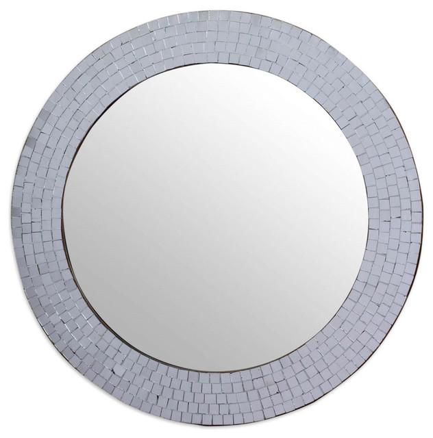 Bathroom Mirrors Round modern round circular bathroom wall mirror with mosaic glass