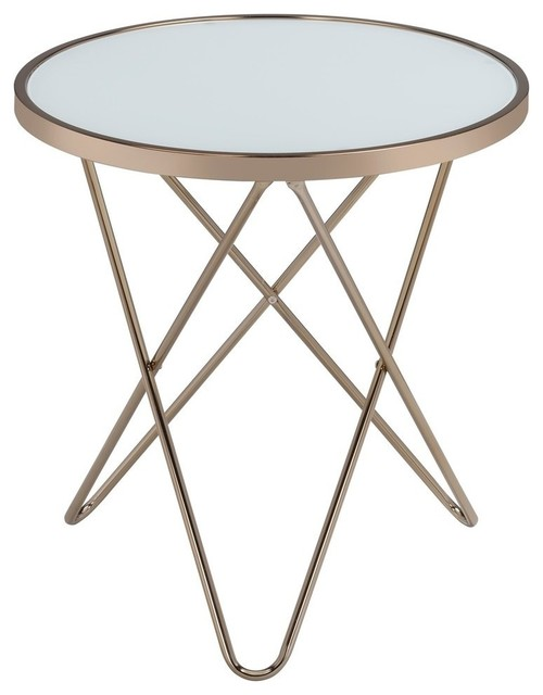 Acme Valora End Table, Frosted Glass And Champagne.