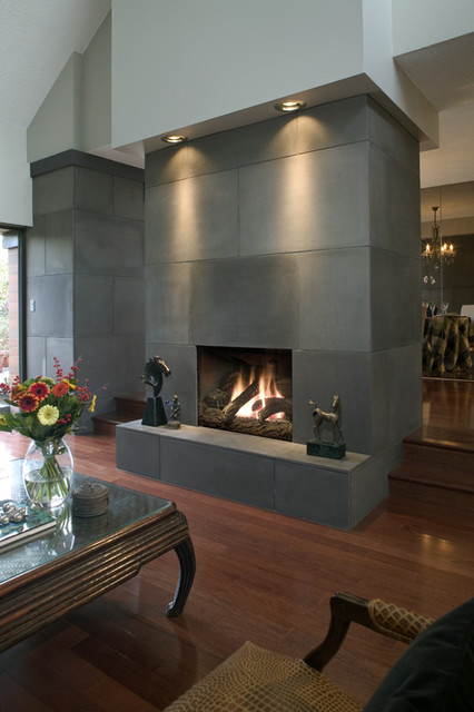 Concrete fireplace tiles contemporary vancouver by solus decor inc - Living room contemporary fireplace design ...