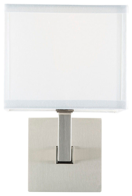 Brushed Nickel Wall Sconce With Fabric Shade : Sofia Wall Sconce With White Fabric Shade - Contemporary - Wall Sconces - by Linea di Liara
