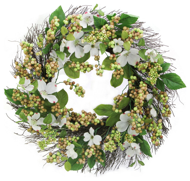 "24"" Dogwood, Berry Wreath Spring Greenery."
