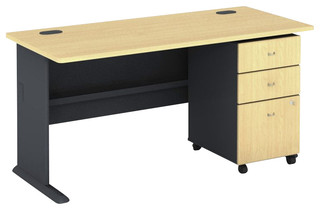 "Bush Series A 60"" Wood Computer Desk with 3-Drawer File Cabinet in ..."