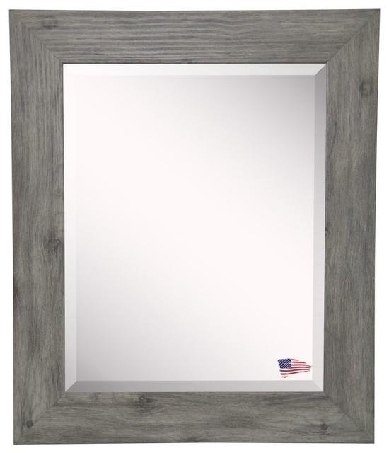 "Raynor Gray Wooden Wall Mirror, 41.5""x35.5""."