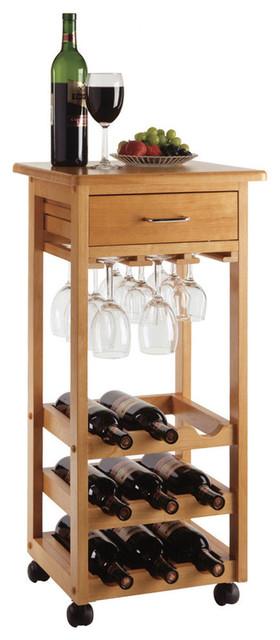 Winsome Wood Wine Cart W Glass Rack In Light Oak Contemporary