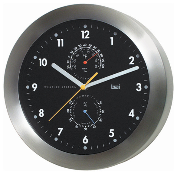 Black Wall Clocks weather station wall clock, brushed aluminum and black - wall