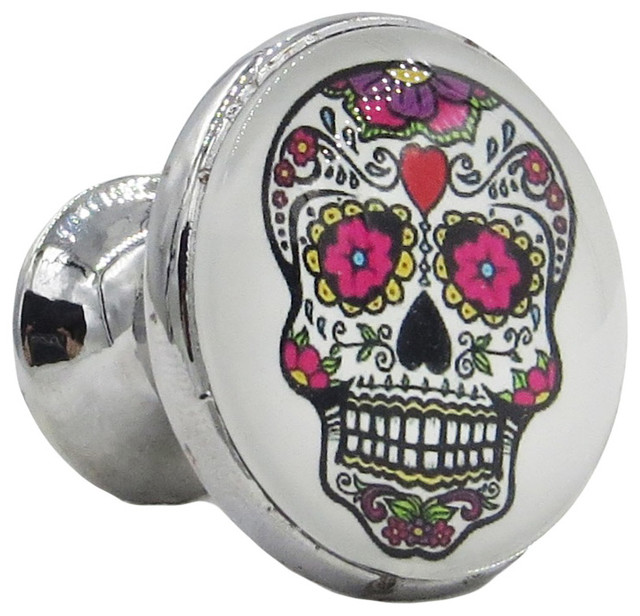Sugar Skull on White Decorative Glass Knob - Traditional - Cabinet And Drawer Knobs - by ...