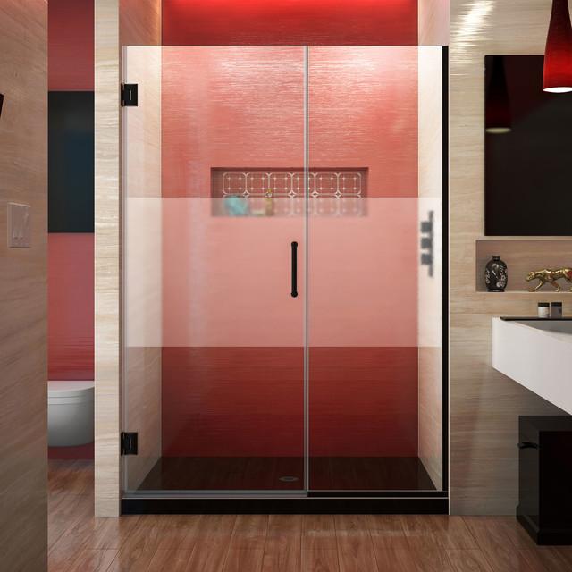 """Contemporary Bathroom Doors: Unidoor Plus 51-51.5""""Wx72""""H Frameless Hinged Shower Door"""