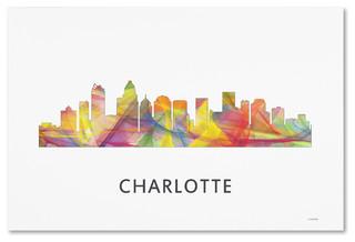 Charlotte Nc Skyline Wb 1 Canvas Art Contemporary