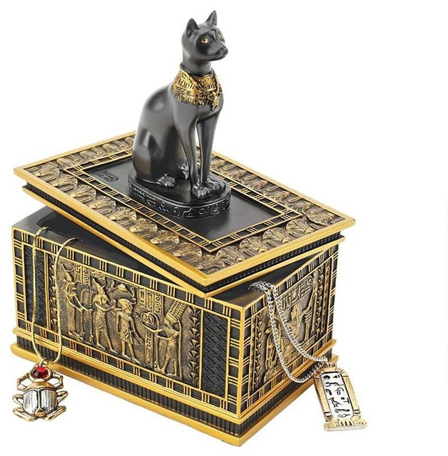 Royal Bastet Egyptian Collectible Treasure Jewelry Box