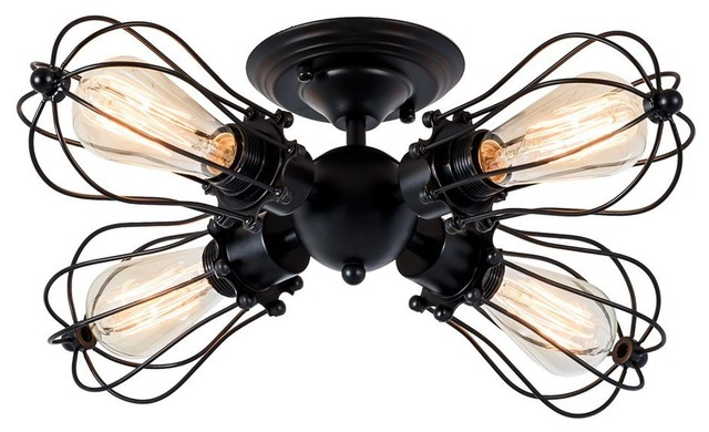 Industrial Black Vintage Ceiling Lighting 4-Light Wire Cage Semi-Flush Mount.