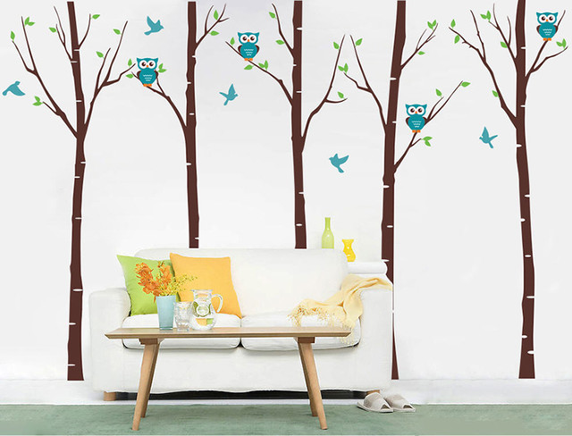 Five Birch Trees With Owls, Wall Decal, Dark Brown Modern Wall Decals