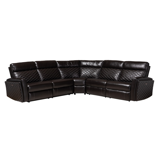 Awesome Edda Charcoal Brown Faux Leather 3 Piece Power Recliner Sectional Pdpeps Interior Chair Design Pdpepsorg
