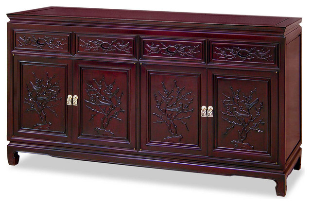 "60"" Rosewood Flower and Bird Design Sideboard - Asian - Furniture - by China Furniture and Arts"
