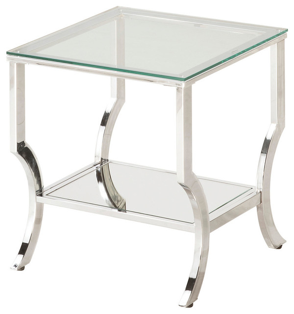 glass end tables for living room. Living Room Accent Chrome Metal End Table with Glass Top Mirrored Shelf  contemporary side
