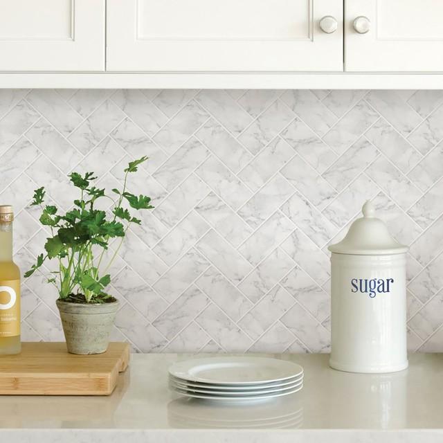 Wallpops Herringbone Carrara Marble Peel and Stick Backsplash Tile, Sample