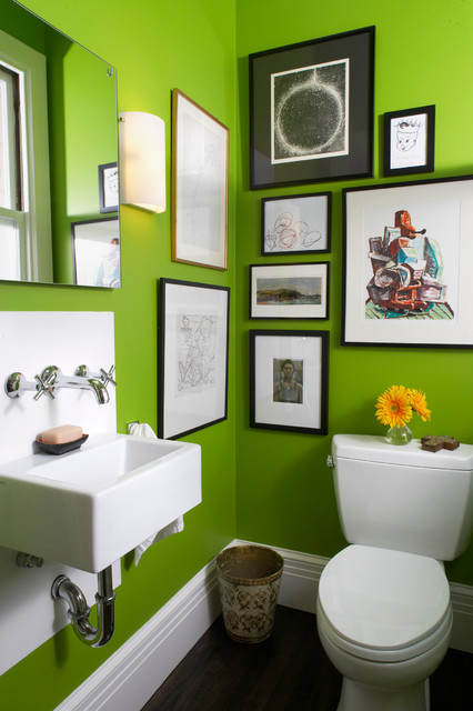 Bright green bathroom contemporary bathroom san for Green bathroom paint colors