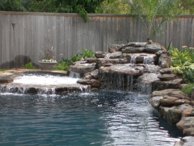 Rogers Custom Swimming Pool Spa Waterfall Design Contemporary Pool Houston By