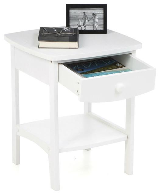 Fastfurnishings Com White Wood Contemporary 1 Drawer
