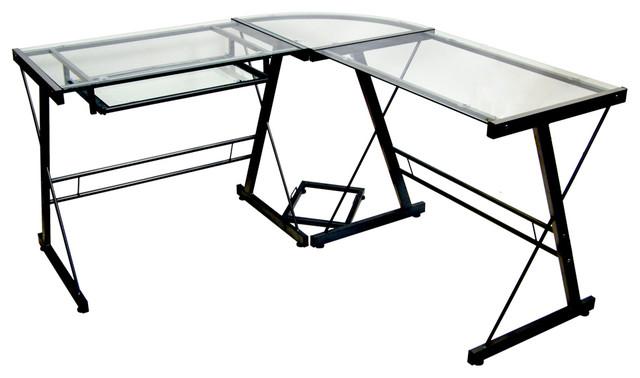 Glass Corner Computer Desk With Black, Porch Den Hardy Black Metal Glass Corner Computer Desk