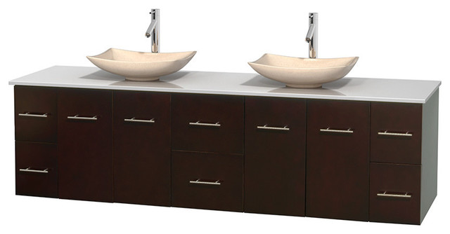 80 double bathroom vanity white man made stone countertop contemporary bathroom vanities for Man made bathroom countertops