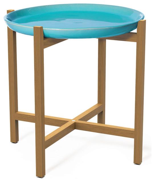 Ibis Ceramic And Teak Accent Table, Aquamarine